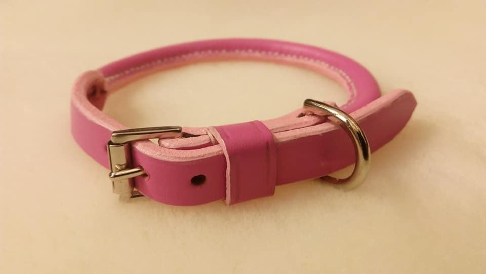 Handmade pink rolled dog collar