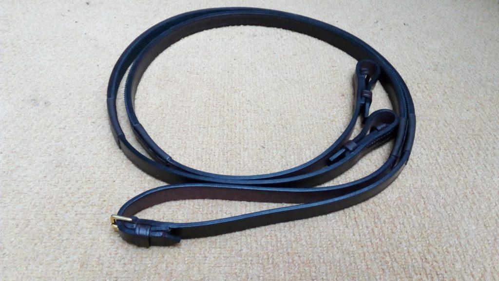Handmade, hand-stitched half rubber reins